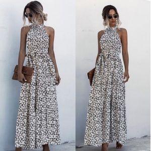 Boho floral print belted halter spring dress